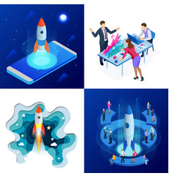 Isometric four concepts of businnes start up for vector