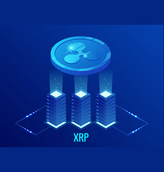 isometric ripple coin xrp cryptocurrency mining vector image
