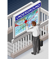 Isometric Underground Map - Man who is Searching vector