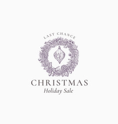 last chance christmas sale discount sketch pine vector image