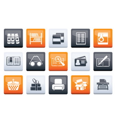 library and books icons over color background vector image