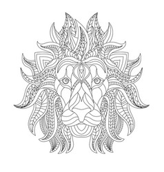 Lion head coloring book antistress c vector