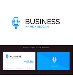 logo and business card template for microphone vector image