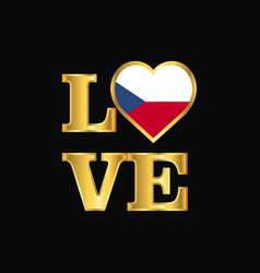 Love typography czech republic flag design gold vector
