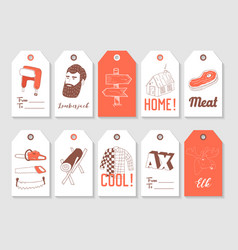 Lumberjack hand drawn tags collection vintage vector