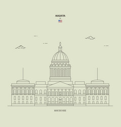Maine state house in augusta usa landmark icon vector