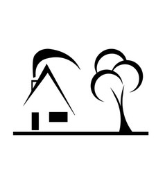 modern design house sketch with tree vector image