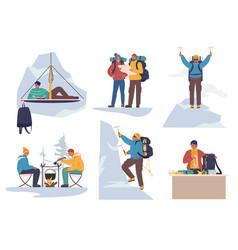 mountain climber cartoon character set flat vector image
