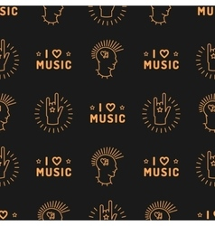 Music seamless pattern Punk Mohawk Hand Rock N vector image