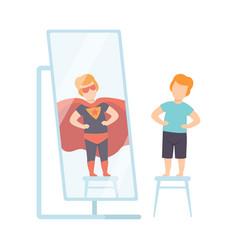 narcissistic man character looking at mirror and vector image