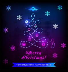 Neon logistics xmas christmas tree path and vector