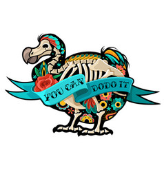 Old school tattoo dodo vector