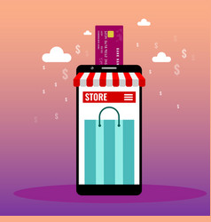 Online shopping or online store concept ads vector
