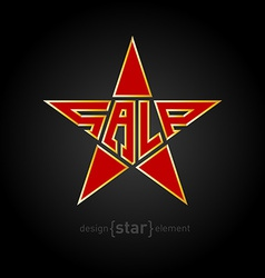 Original red star with gold border and description vector