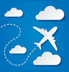 Paper flying plane in clouds Travel background vector image