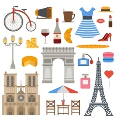 Paris icons set vector image