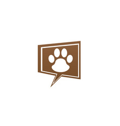 Paw inside an chat icon and footprint symbol logo vector