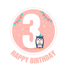 Pink circle with number 3 for birthday vector