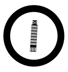 pisa tower black icon in circle vector image