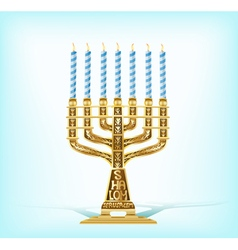 Realistic golden menorah vector