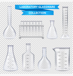 Realistic laboratory glassware collection vector