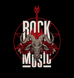 rock music banner with goat head guitar and roses vector image