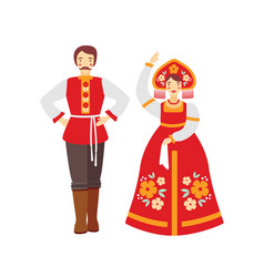 Russian folk costume flat man vector