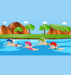 Scene with four kids swimming in river vector
