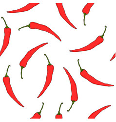 Seamless pattern with red hot chili peppers vector