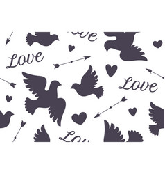 Seamless pattern with white love doves vector