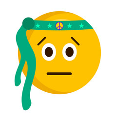 Serious hippie emoji with a bandage vector