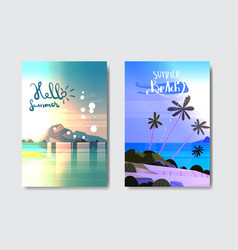 set day night sunset landscape tropical beach vector image