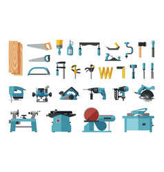 set of carpentry tools big flat icon collection vector image