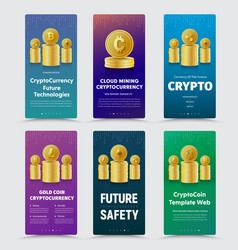 Set of vertical banners for crypto currency with vector