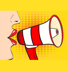 Sexy pop art woman mouth and megaphone speaking vector