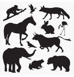 silhouettes of animals 3 vector image