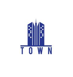 skyscraper town building logo vector image