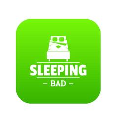 sleeping bad icon green vector image