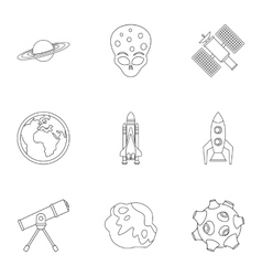 Space icons set outline style vector