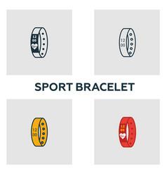 sport bracelet icon set four elements in diferent vector image