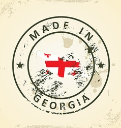 Stamp with map flag of Georgia vector image