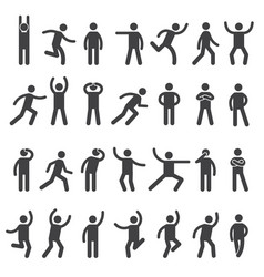 stick characters posture icon action figures vector image
