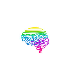Tangled rainbow colored wire in brain shape vector