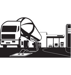 Tank truck loading petrol station with fuel vector
