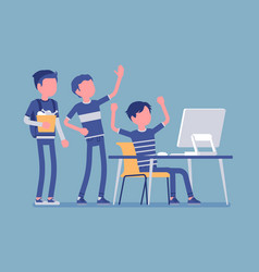teens fun at computer vector image