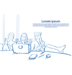 Three sketch girl sitting together using laptop vector