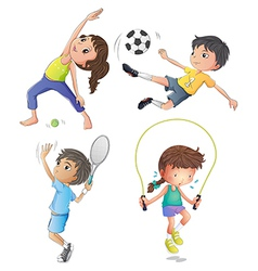 Two young girls exercising and two young boys vector