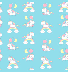 unicorn on rainbow universe seamless pattern vector image