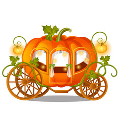 Vintage horse carriage pumpkin with florid vector