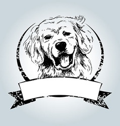 Vintage label with dog head vector